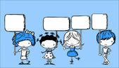 roztomilé děti drží transparenty