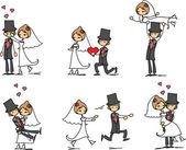 sada svatební fotografie, nevěsta a ženich v lásce