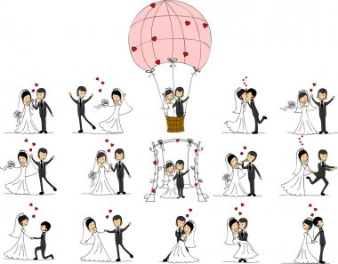 Set of wedding pictures, bride and groom in love