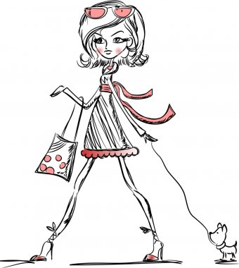 Fashion cartoon girl