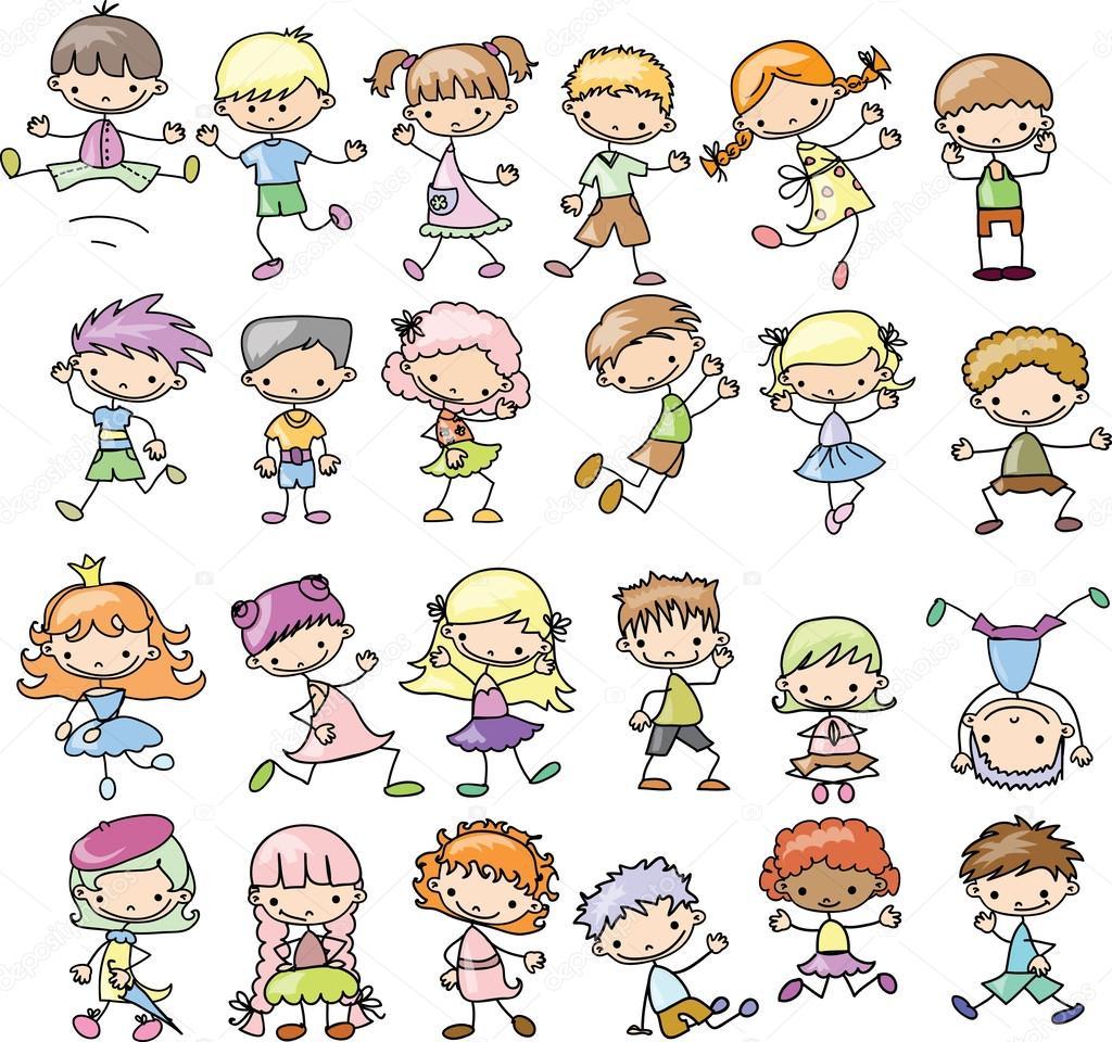 Nastavit Kreslene Childrenset Kreslene Deti Stock Vektor