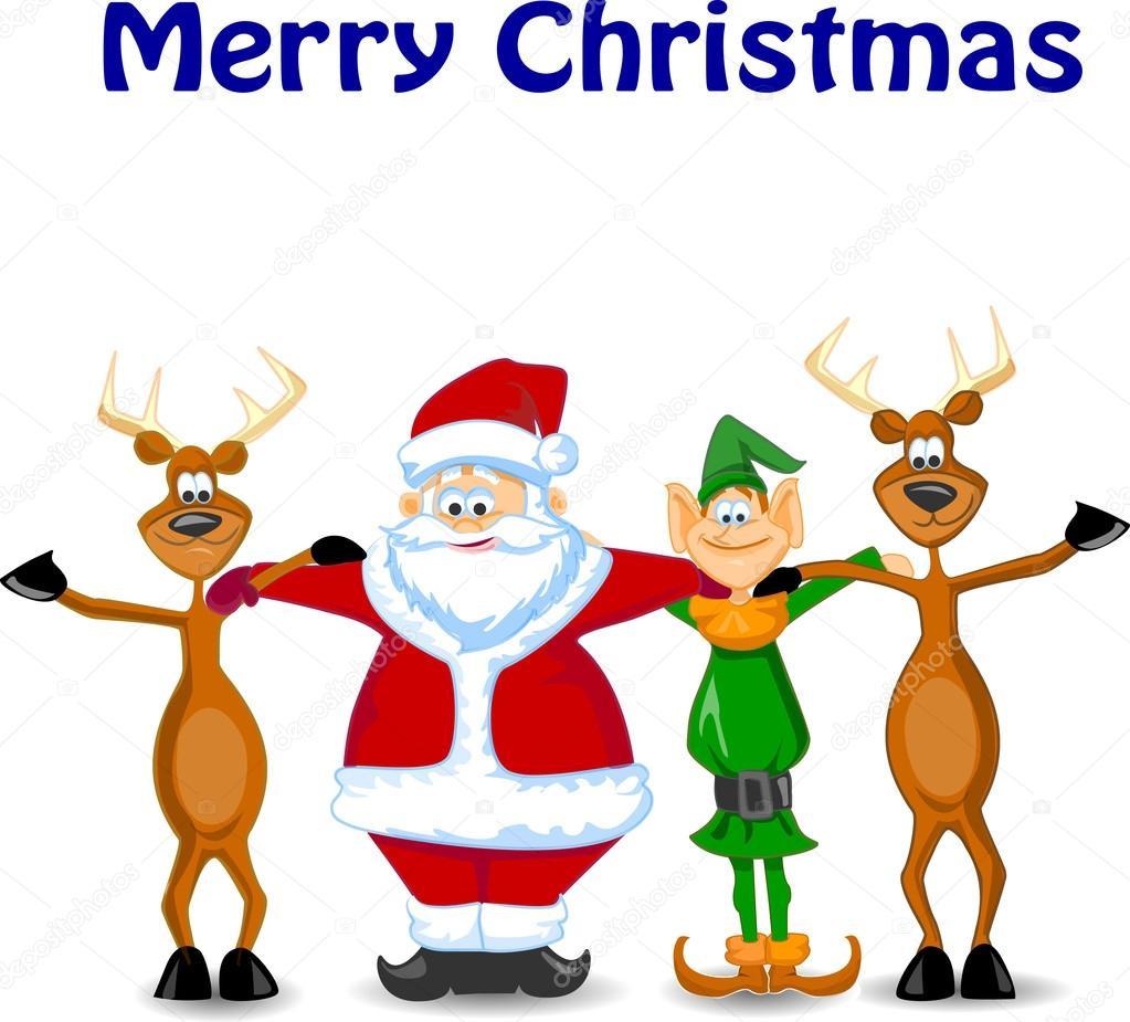 cartoon santa claus elf reindeer u2014 stock vector virinaflora