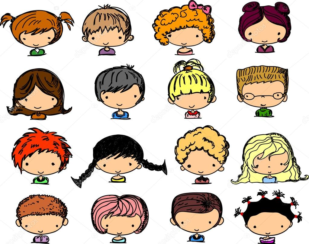 Para Niños De Dibujos Animados Caras Diferentes: Rostros Lindos Dibujos Animados