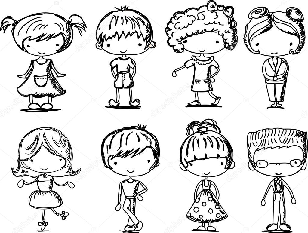 cartoon drawings of fashionable children stock vector 37455637