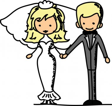 Wedding pictures, love the bride and groom stock vector