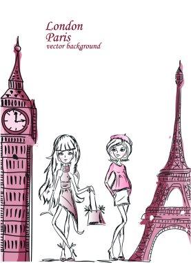 Fashion Cartoon Girl travels the world