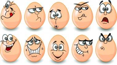 Cartoon easter eggs, happy easter