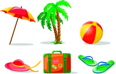 Travel background, palm, ball, flip-flops and suitcase
