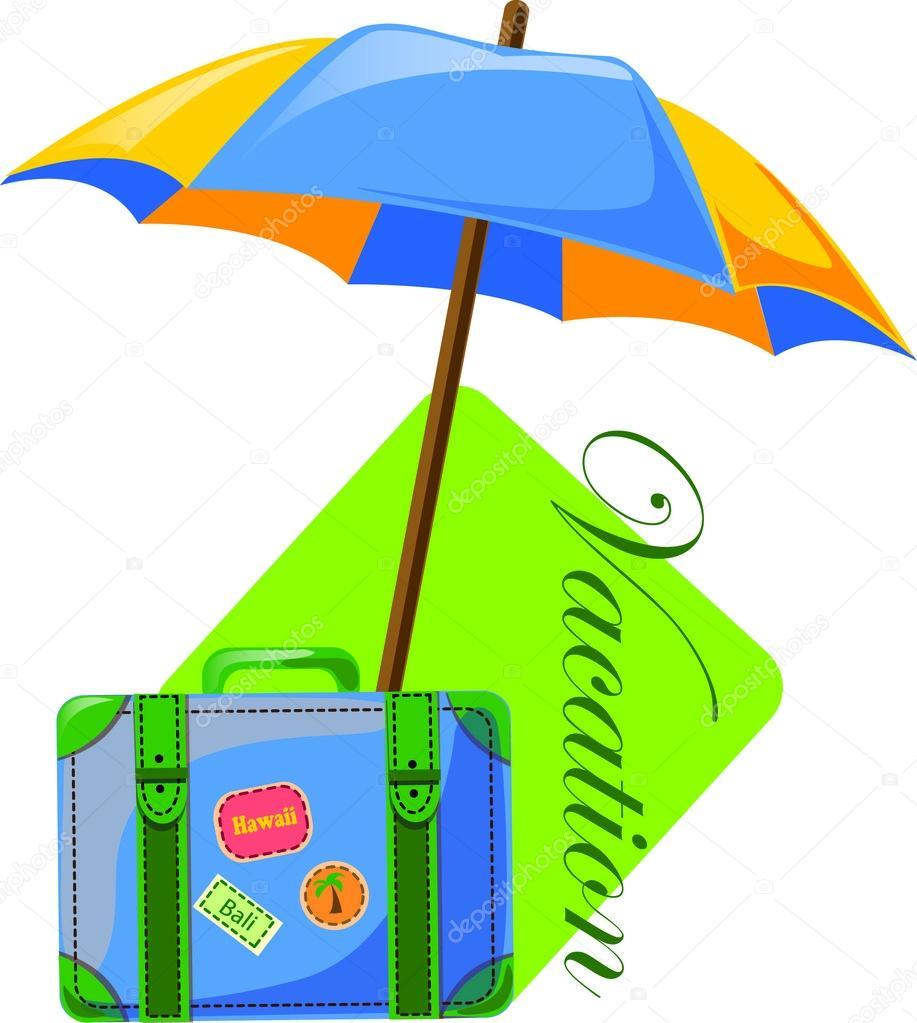 Reisen Hintergrund Sonnenschirm Und Koffer Stockvektor