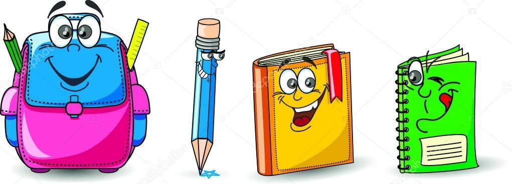 Bolso De Escuela De Dibujos Animados, Libro Y Lápiz