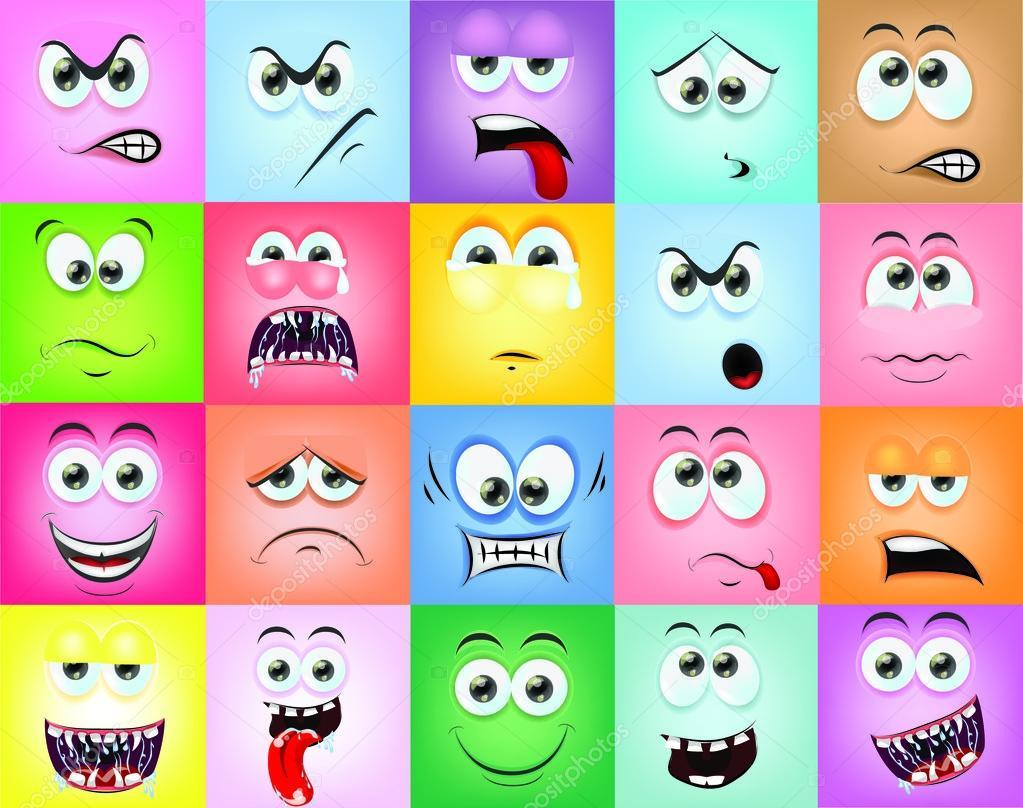Caras De Dibujos Animados Con Las Emociones