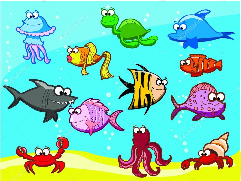 Cartone animato pesci nel mare — vettoriali stock