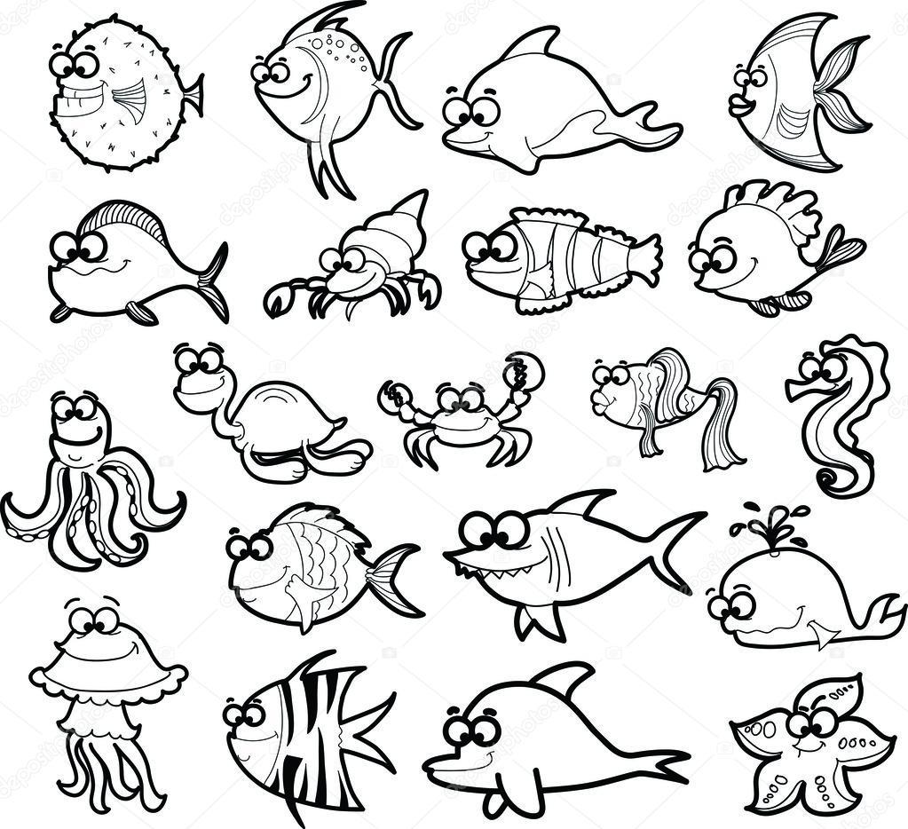 Velka Sada Kreslenych Morskych Zivocichu Stock Vektor