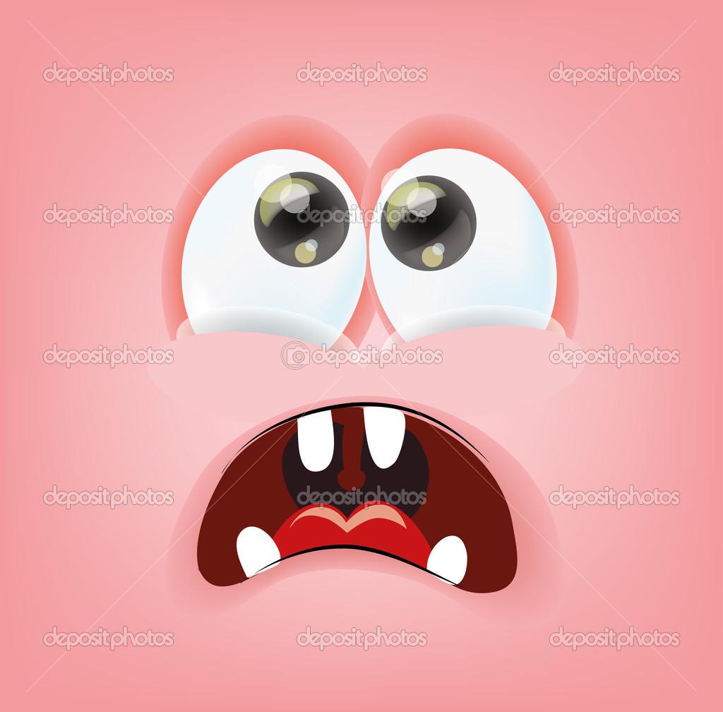 Cartone animato faccia con emozione u vettoriali stock