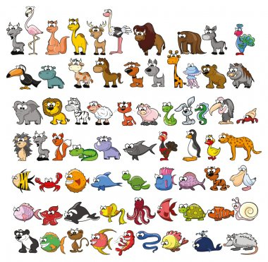 Set of cute cartoon animals stock vector