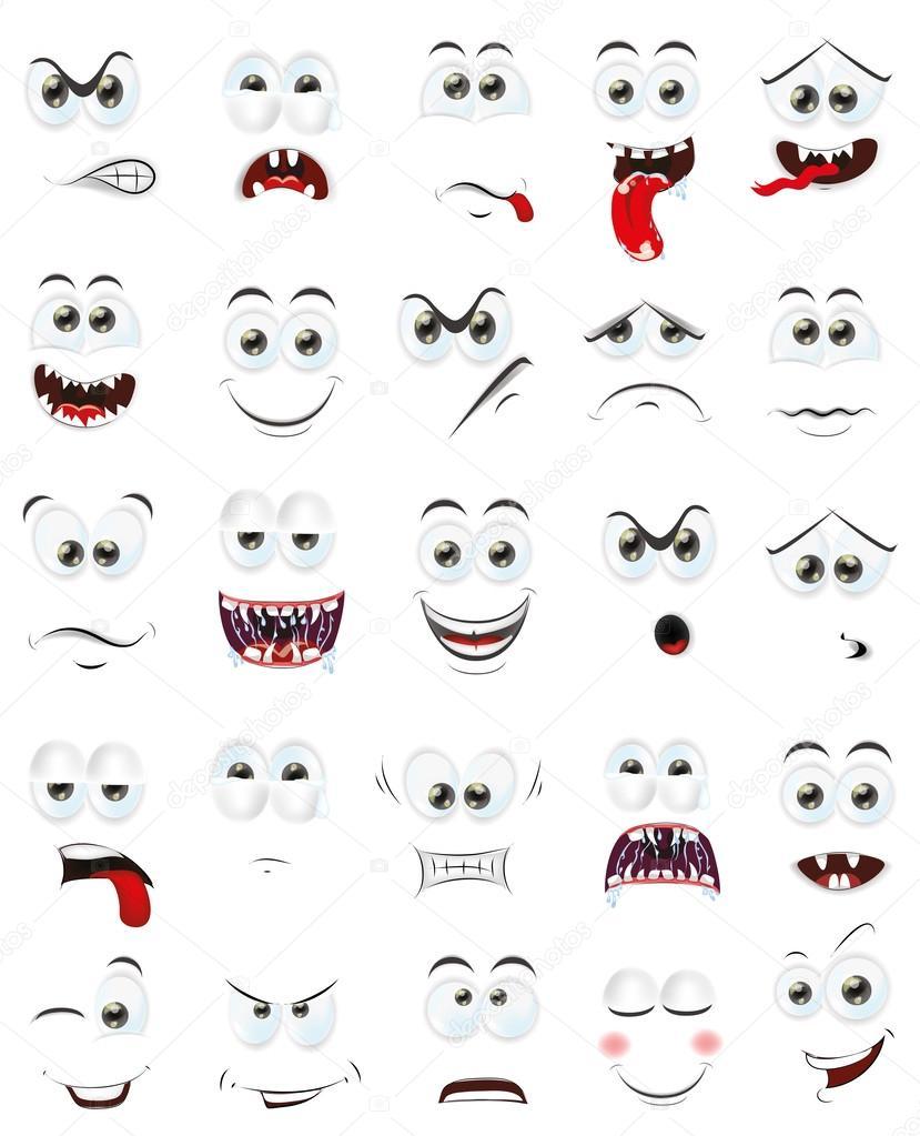 Préférence animé visages avec émotions — Image vectorielle #49227257 RF19