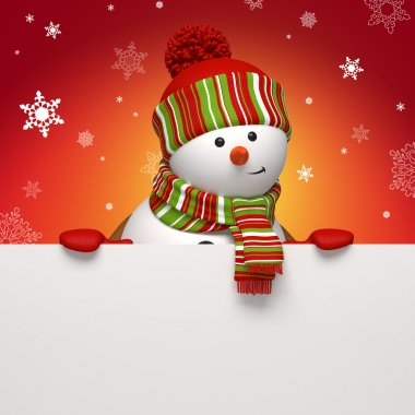 Snowman holding message banner. Christmas greeting