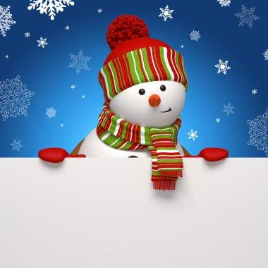 Snowman banner. Christmas greeting