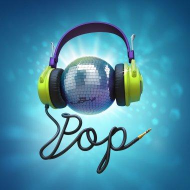 Disco ball headphones pop music