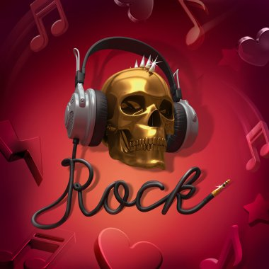 Scull headphones rock music