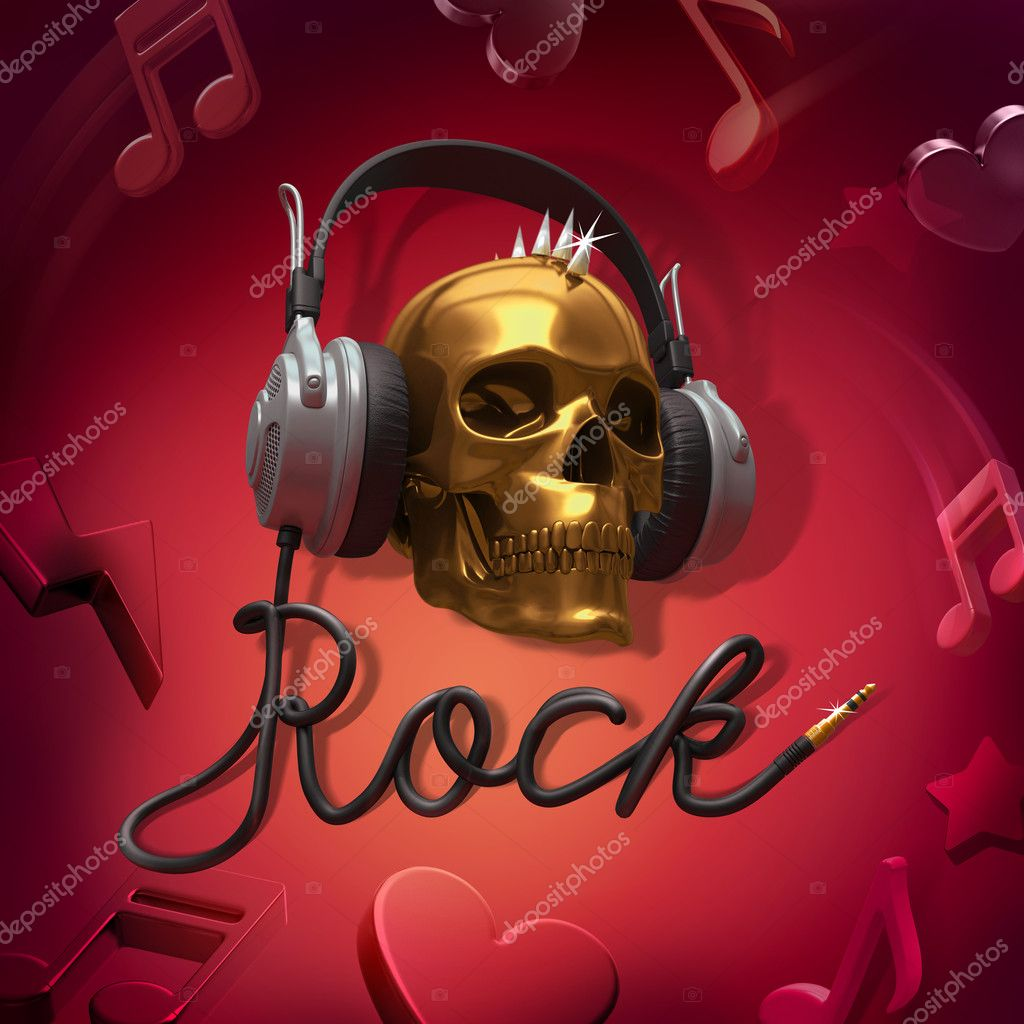 Scull headphones rock music