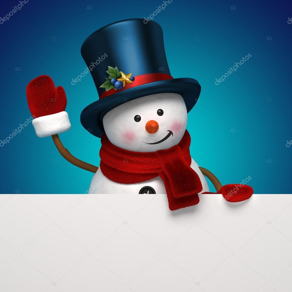 Auguri di Natale con pupazzo di neve holding banner messaggio — Foto di ... d1cbe8777662