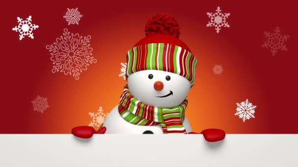 Christmas snowman greeting banner