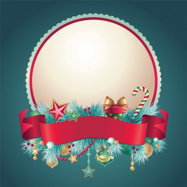 Vintage Christmas round banner with ribbon