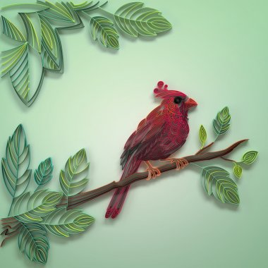 Red paper quilling bird decoration background