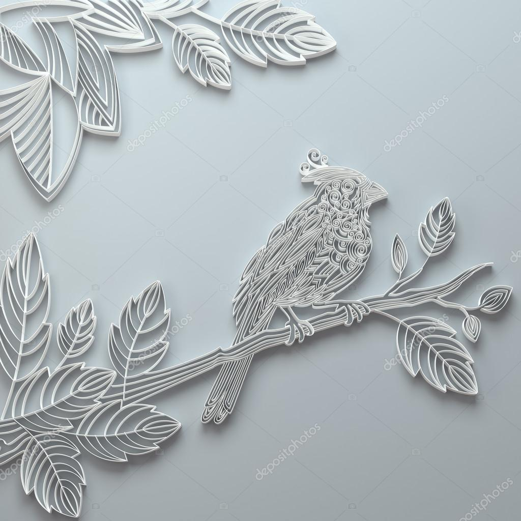 white decorative paper quilling bird greeting card stock photo wacomka 16631467. Black Bedroom Furniture Sets. Home Design Ideas