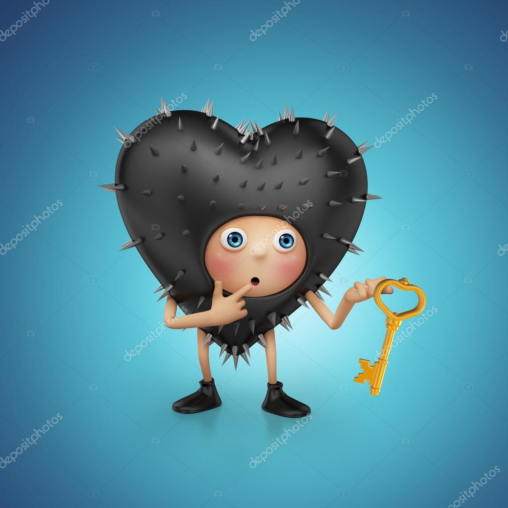 Funny cute kinky black heart cartoon holding golden key