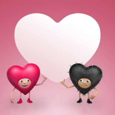 Two Funny Valentine heart cartoons holding banner