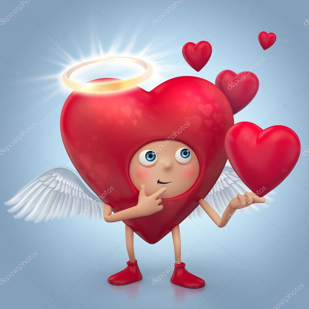 Desenho de coração anjo vermelho bonito com auréola e