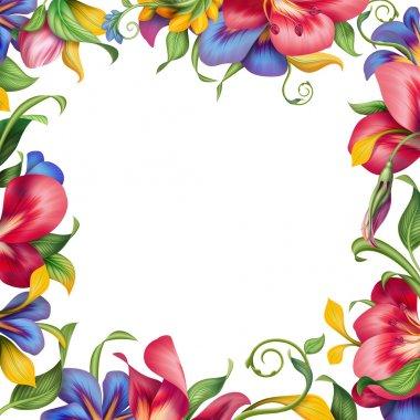 tropical flower square frame