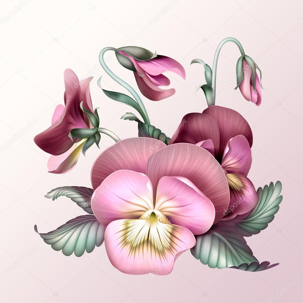 Bunch Of Vintage Pink Pansy Flowers Stock Photo Wacomka 27618531