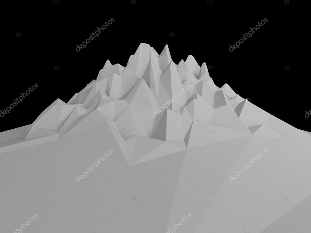 3d white abstract mountain