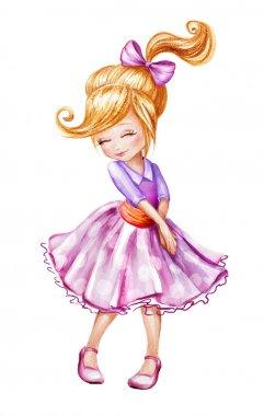 Cute little girl sketch illustration