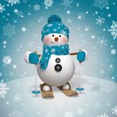 3D vánoční kreslené postavičky, lyžařské sněhulák
