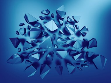 3d abstract sapphire blue crystal background