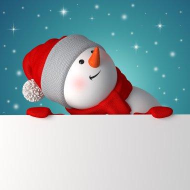 3d snowman holding blank Christmas banner
