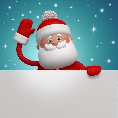 3d Santa Claus holding blank Christmas banner