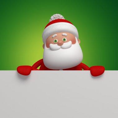 3d Santa Clause holding blank card