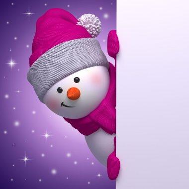 3d snowman holding Christmas banner