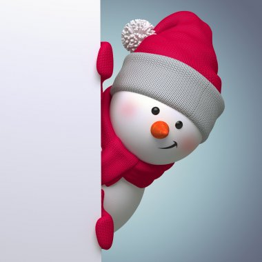 Snowman with blank page