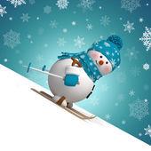 Fotografia pupazzo di neve sci 3D