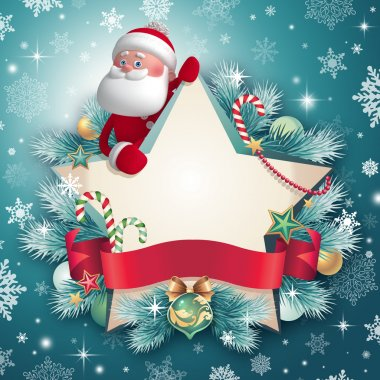 3d Santa Claus holding Christmas star banner
