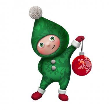 Christmas Santa elf holding glass ball