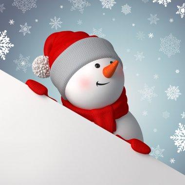 Snowman, holding blank page corner