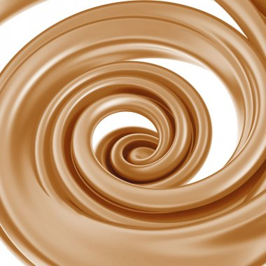3d abstract liquid chocolate swirl