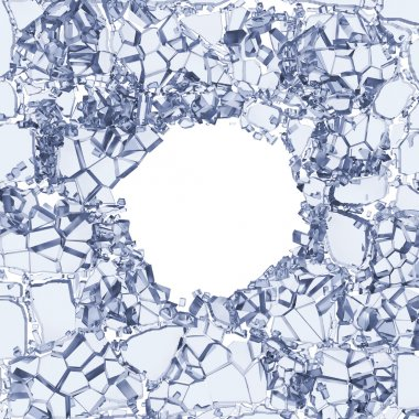 White cracked clear background with round hole